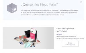 Los Perks o premios de Klout. Las marcas pueden usarlos para premiar a los usuarios más activos.
