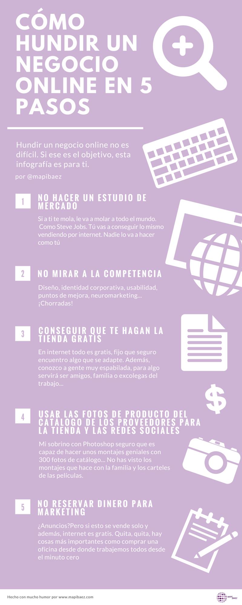 Cómo hundir un negocio online en 5 pasos infografía