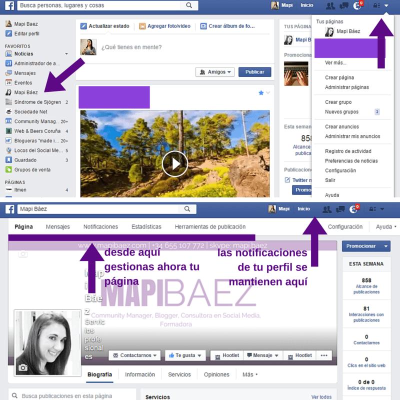Acceso y posición de las notificaciones de página de Facebook