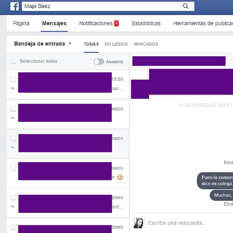 mensajes de pagina de facebook