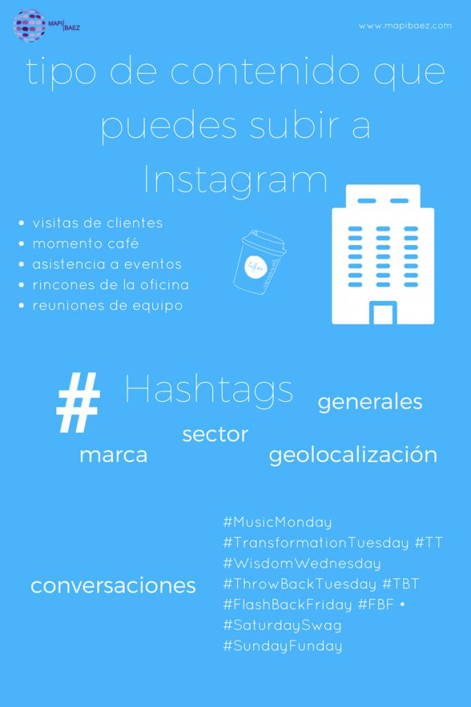 infografía tipo de contenido que puedes subir a instagram