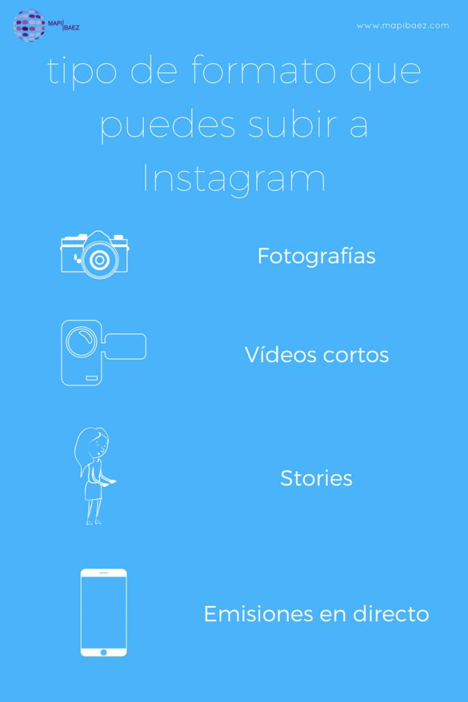 infografía tipo de formato de contenidos que puedes subir a instagram