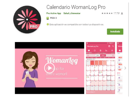 aplicaciones android woman log