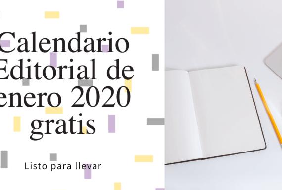 Calendario Editorial de Enero 2020 gratis portada